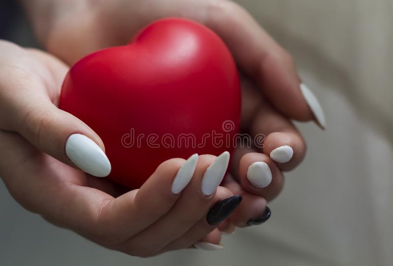 Руки девушки держа красное сердце, здравоохранение, концепция дарят и страхования семьи, день сердца мира, день здоровья мира, ко стоковая фотография
