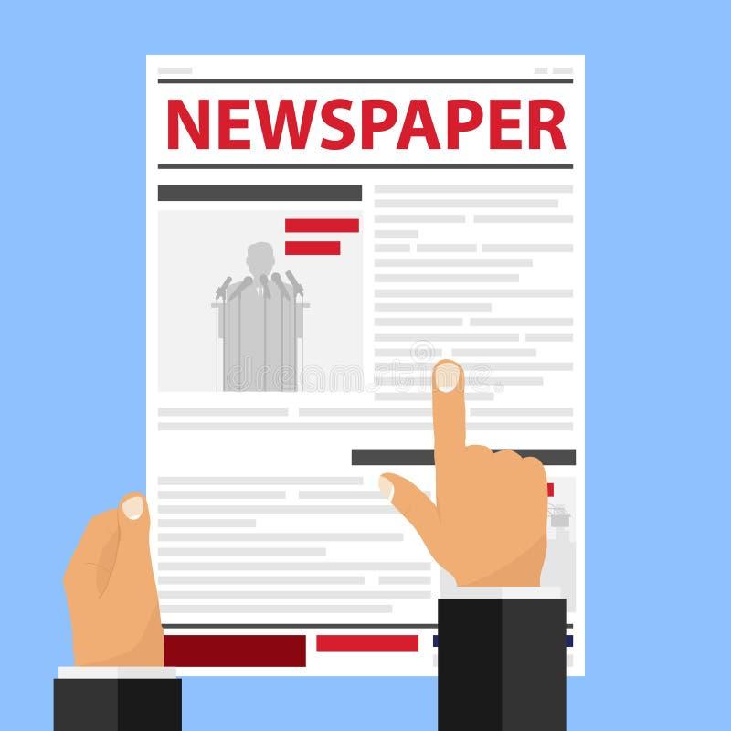 Руки держат газету Человек читает газету и указывает палец на линию бесплатная иллюстрация
