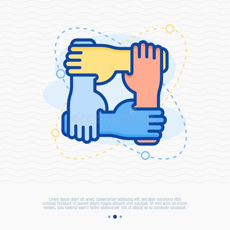 4 руки держат совместно для запястья руки другое иллюстрация штока