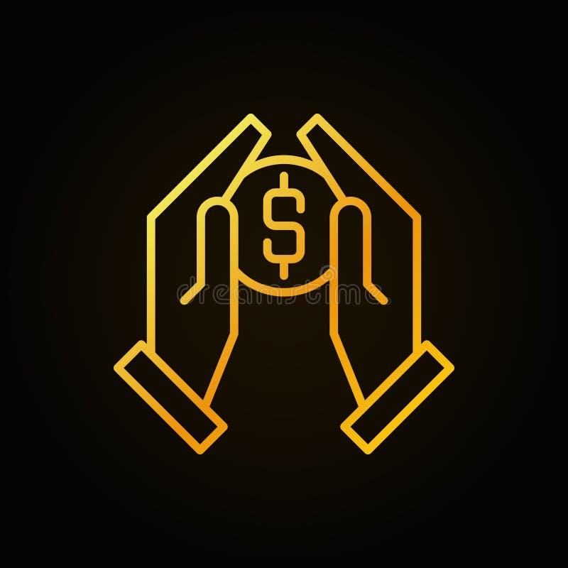 Руки держа значок плана вектора монетки золотой иллюстрация вектора