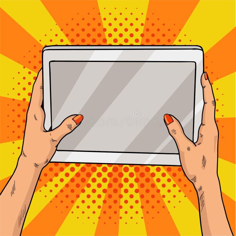 Руки держа искусство шипучки таблетки Женские руки с красным маникюром держат портативный компьютер Винтажная иллюстрация искусст иллюстрация вектора