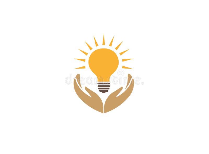 Руки держа лампу с лучем для сохранения энергии для иллюстрации дизайна логотипа бесплатная иллюстрация