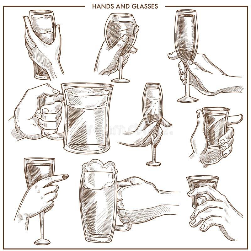 Руки держа стекла питья vector значки эскиза кружки пива владением руки женщины и человека, кубка шампанского или рюмки иллюстрация вектора