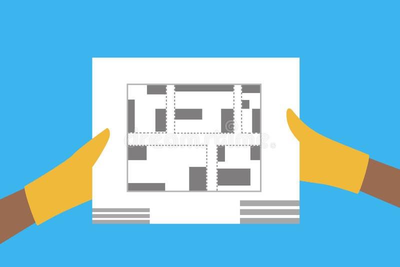 Руки держа строя план Принципиальная схема зодчества иллюстрация штока