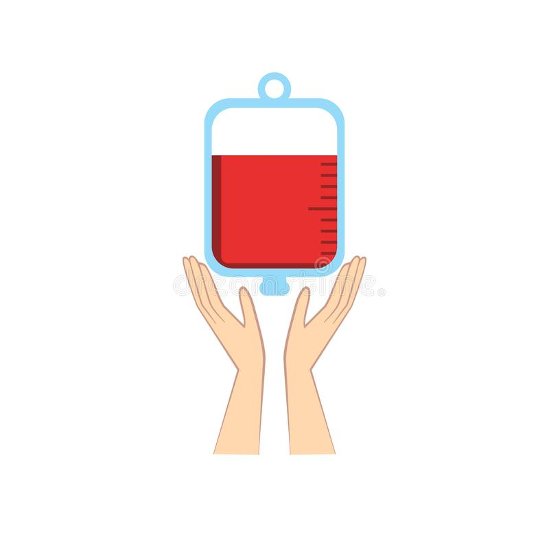 Руки держа сумку крови Вектор концепции пожертвования абстрактный иллюстрация вектора