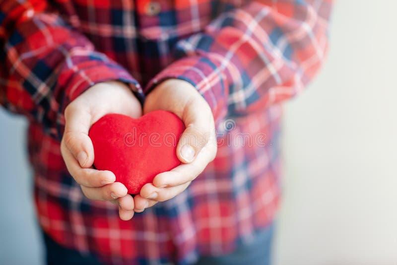 Руки детей давая красные сердце и любовь во дне Валентайн стоковое фото rf