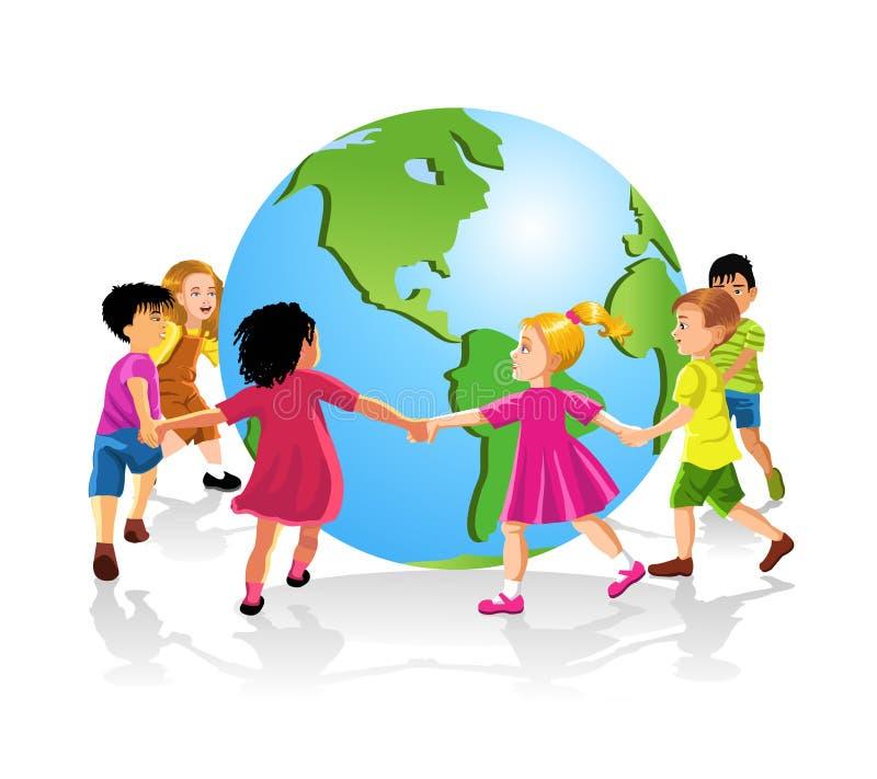 руки детей держа мир иллюстрация штока