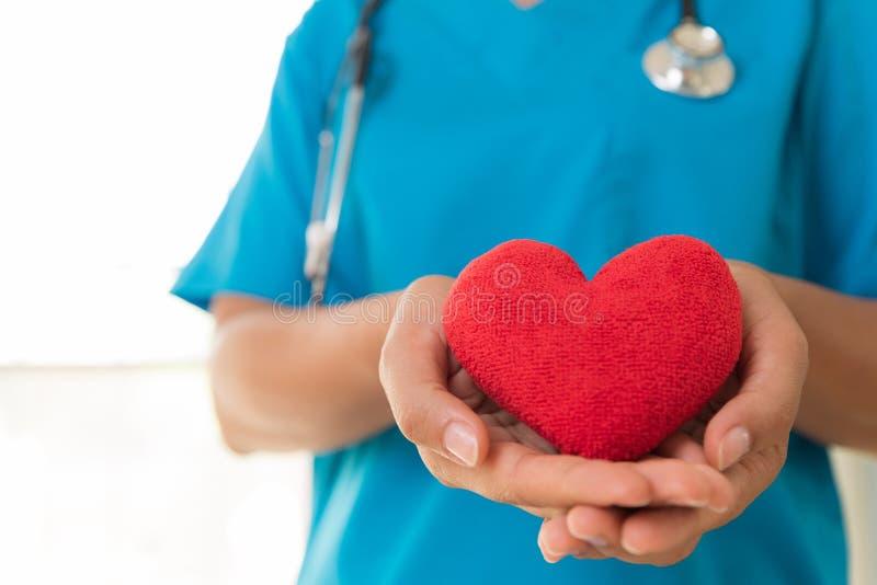 Руки доктора держа красное сердце Здравоохранение и медицинская концепция стоковое изображение