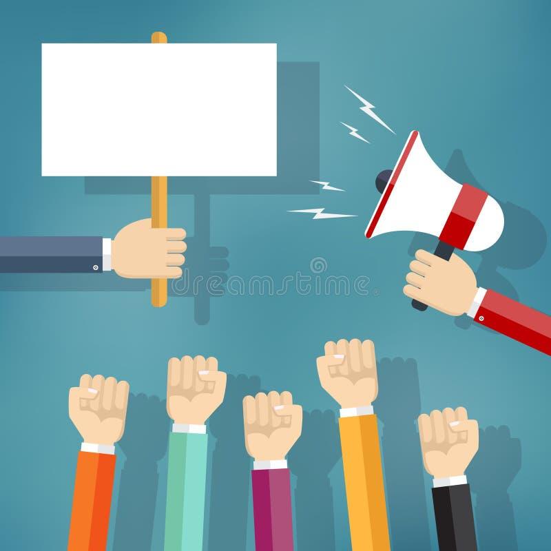 Руки держа знак и портативный магнитофон протеста бесплатная иллюстрация