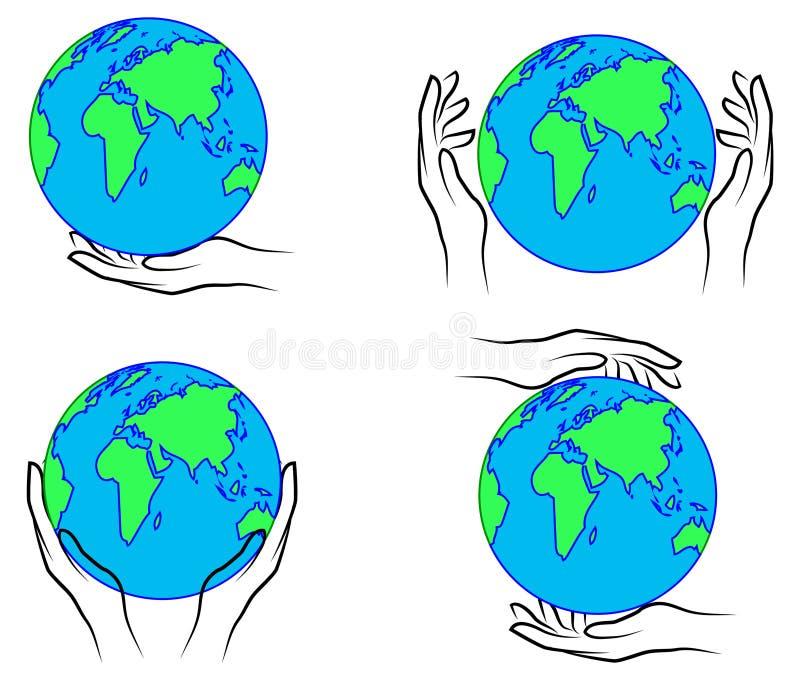 Руки держа изображение разрешения earth иллюстрация штока
