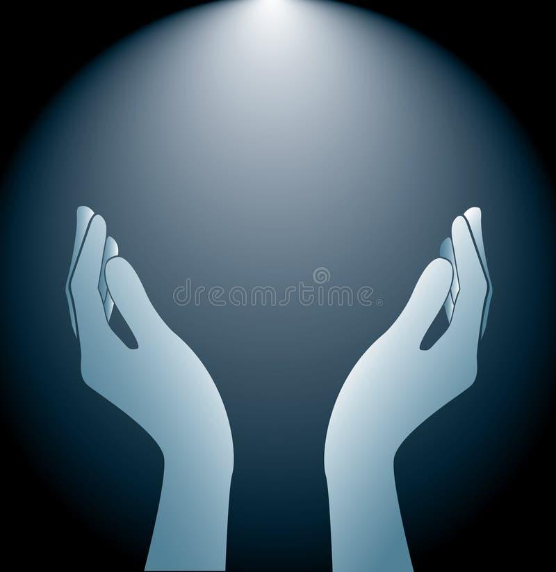 Руки держа и освещая вектор предпосылки иллюстрация штока