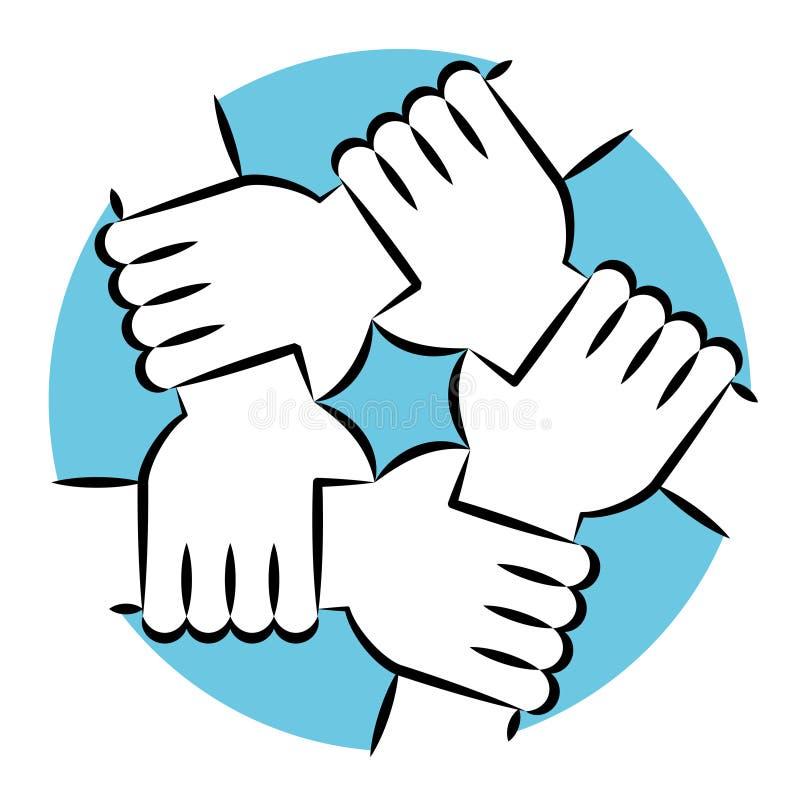 Руки держа каждое другое для солидарности и единства стоковое изображение rf