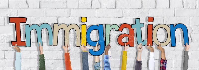 Руки держа концепцию слова иммиграции стоковая фотография rf