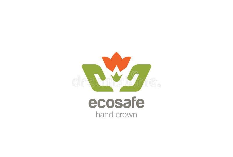 Руки держа логотип цветка конструируют ферму кроны вектора бесплатная иллюстрация