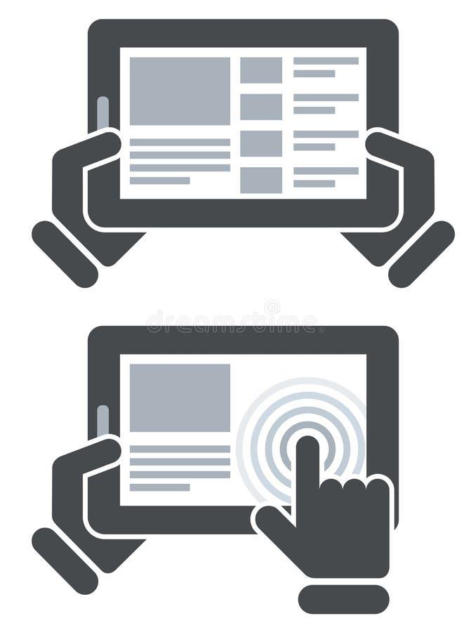 Руки держа планшет и открытый вебсайт иллюстрация вектора