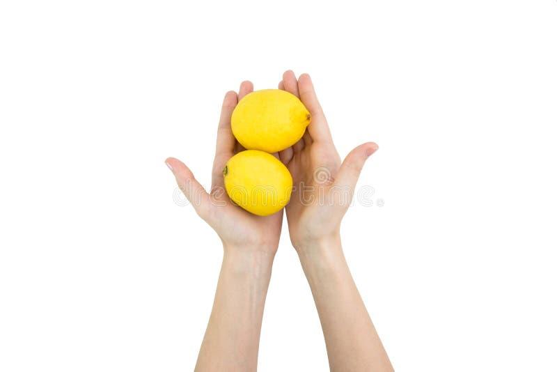 Руки женщины держа 2 свежих лимона изолированный на белом Backgroun стоковое фото rf