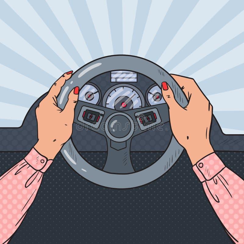 Руки женщины искусства шипучки на колесе автомобиля управлять сейфом иллюстрация штока