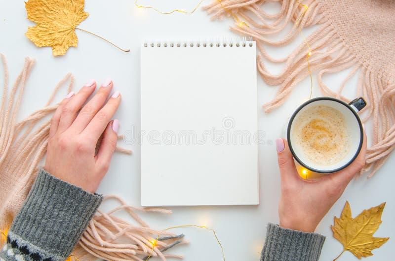 Руки женщин взгляда сверху держат кружку coffe и пустой блокнот на белой таблице со связанными розовыми шарфом и листьями осени стоковые фото