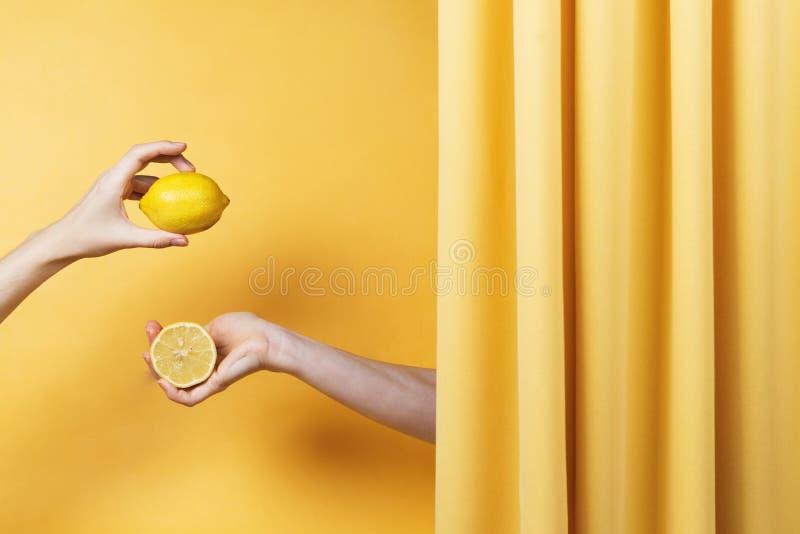 2 руки женщин держа отрезок и все лимоны на желтом цвете стоковое фото