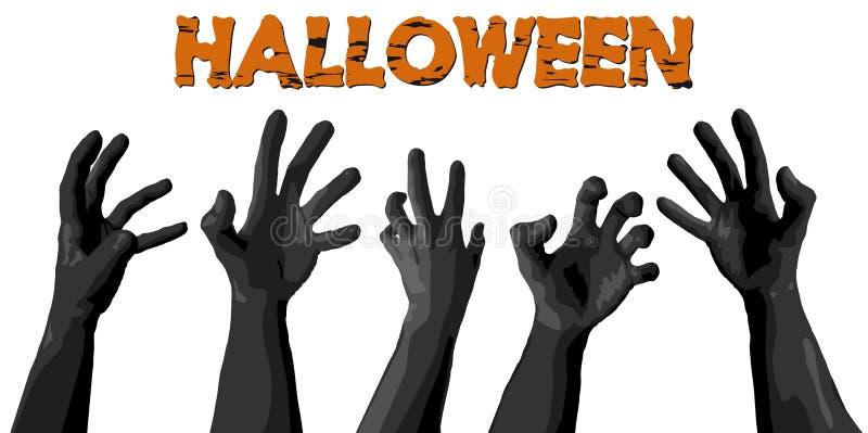 Руки зомби хеллоуина иллюстрация штока