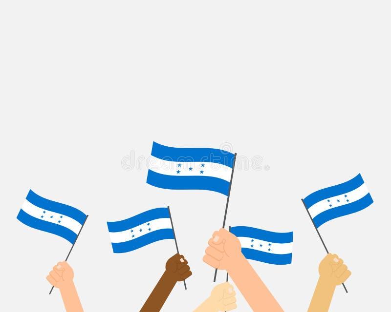 Руки иллюстрации вектора держа флаги Гондураса иллюстрация штока