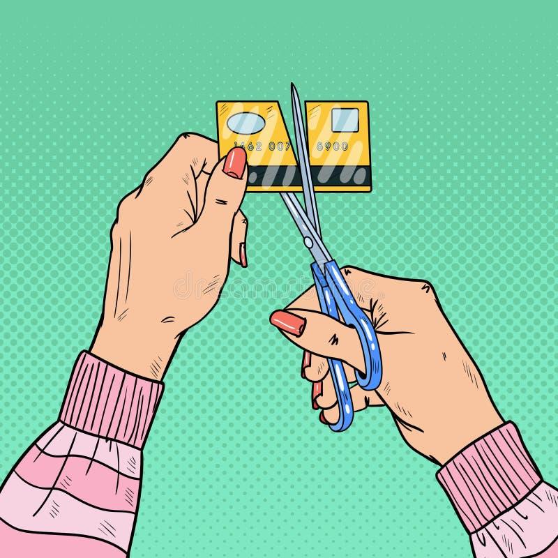 Руки искусства шипучки женские режа кредитную карточку с ножницами иллюстрация вектора