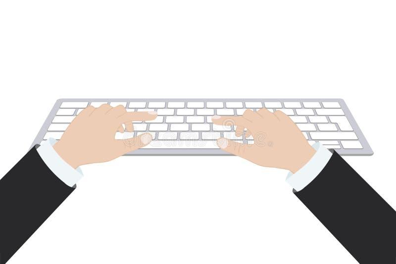 Руки используя клавиатуру компьютера иллюстрация вектора