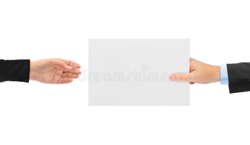 Руки и бумага стоковое изображение rf