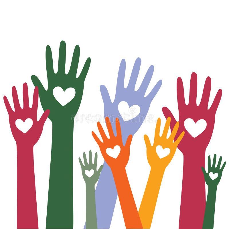 Руки и даритель concept1 пожертвования сердца иллюстрация штока