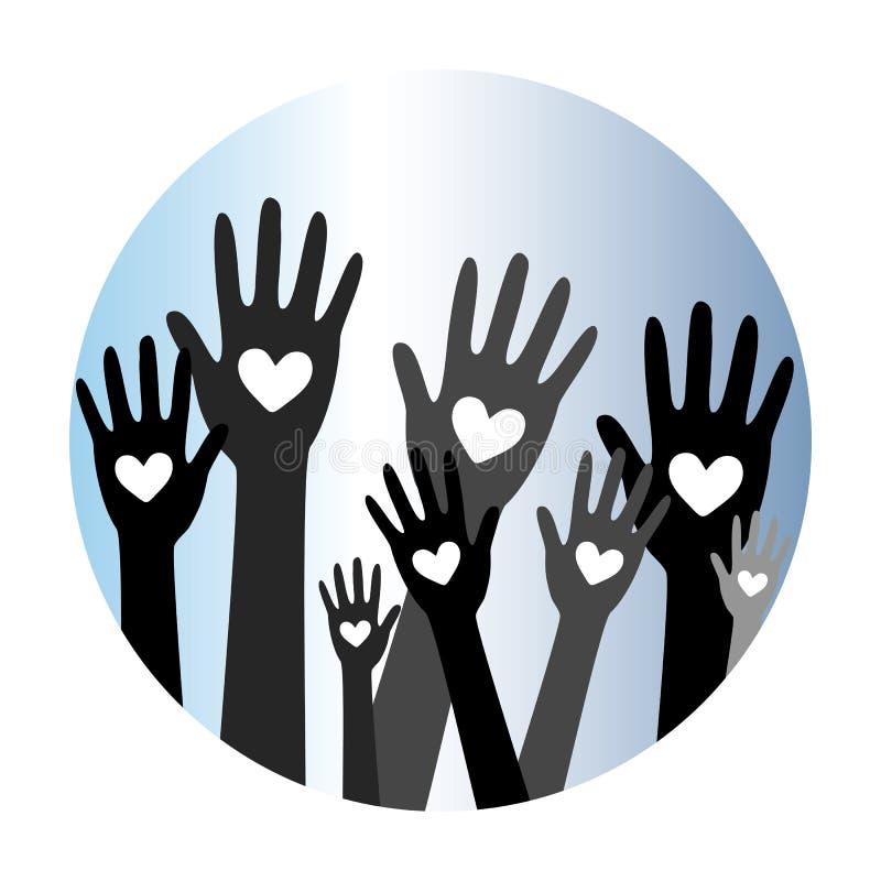 Руки и даритель concept3 пожертвования сердца иллюстрация вектора