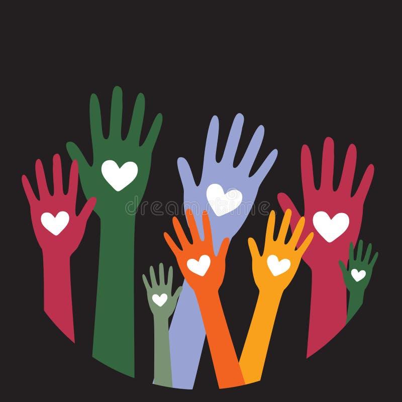 Руки и даритель concept2 пожертвования сердца иллюстрация штока