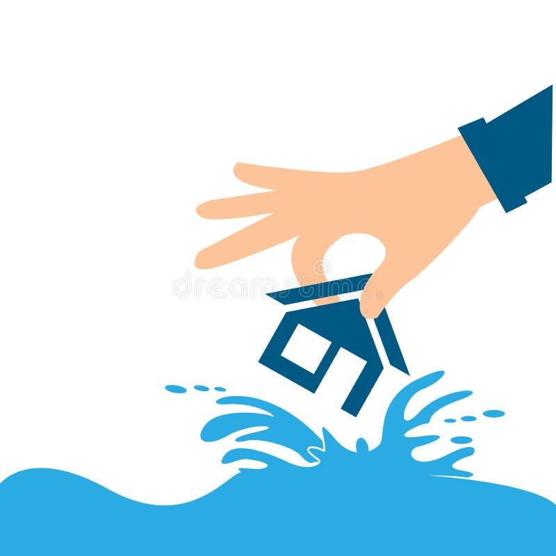 Руки и дом страхсбор дома рук над малой белизной все типы страхсбора принципиальной схемы иллюстрация вектора