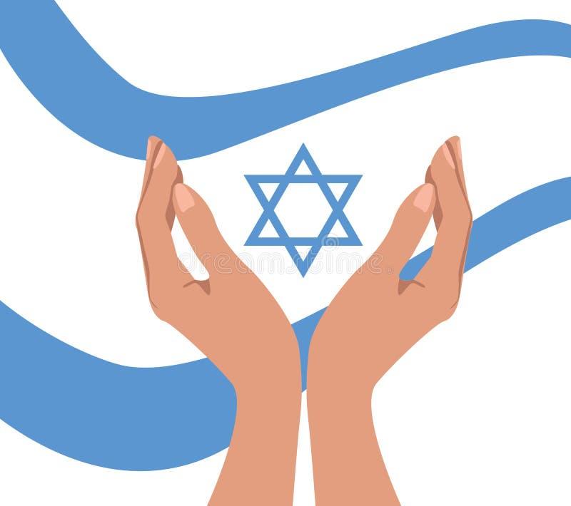 Руки и флаг с Звездой Давида иллюстрация штока