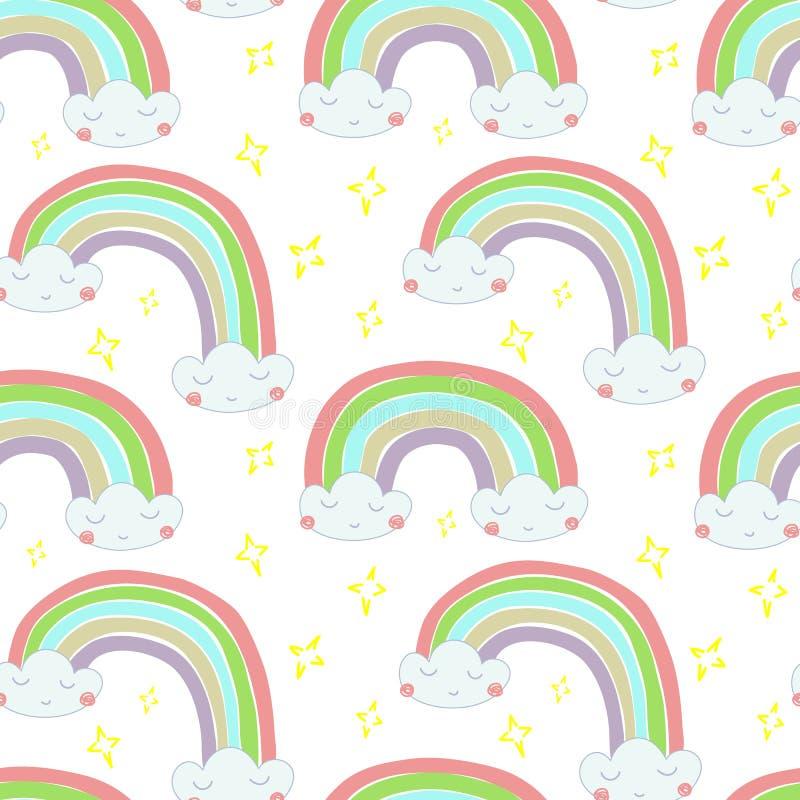Руки картины вектора иллюстрация безшовной вычерченная радуги из облаков иллюстрация штока