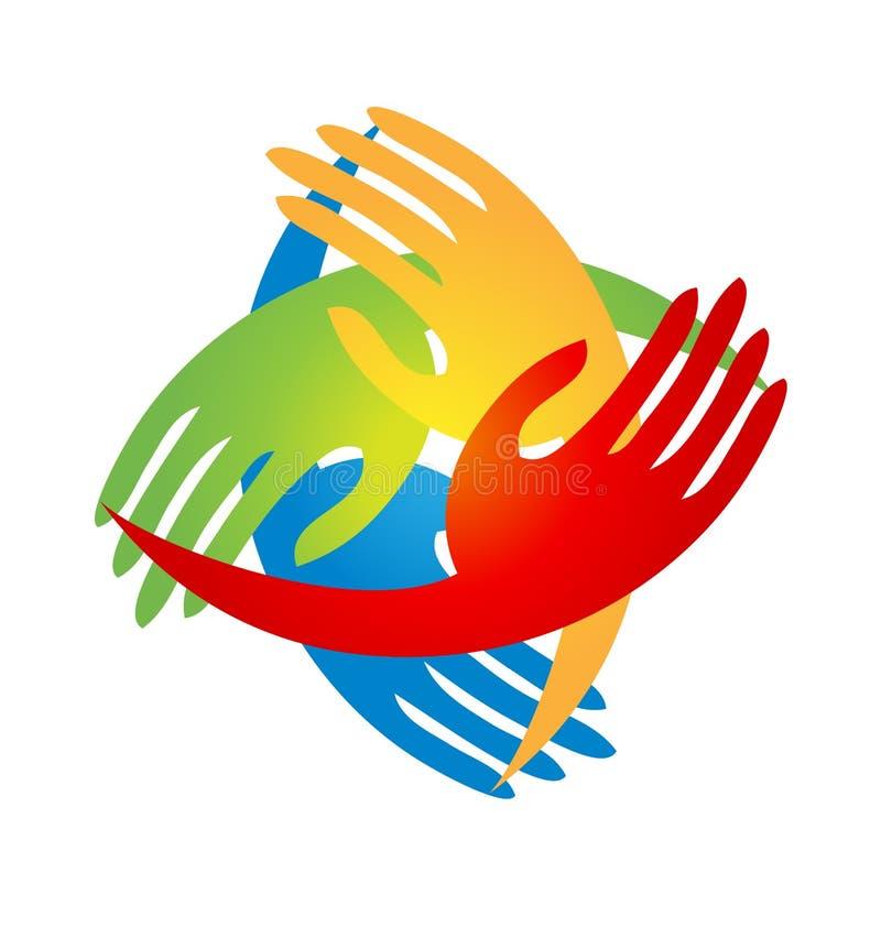 Руки команды приходя совместно логотип иллюстрация штока