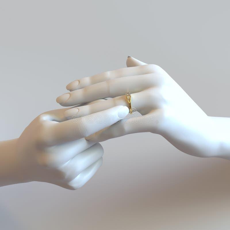 Руки кольца с бриллиантом стоковые изображения