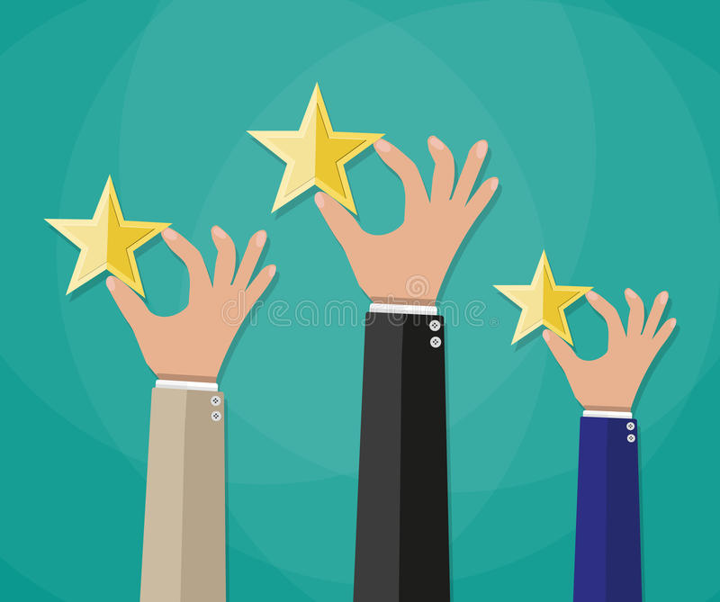 Руки клиентов устанавливая звезды оценки иллюстрация вектора