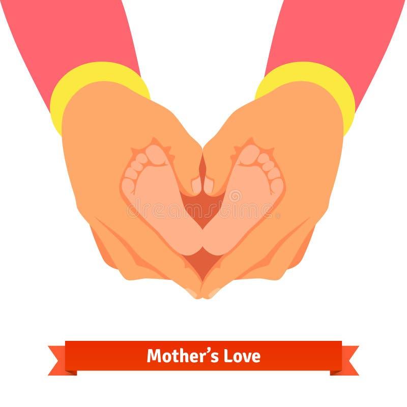 Руки матери держа newborn младенца foots бесплатная иллюстрация