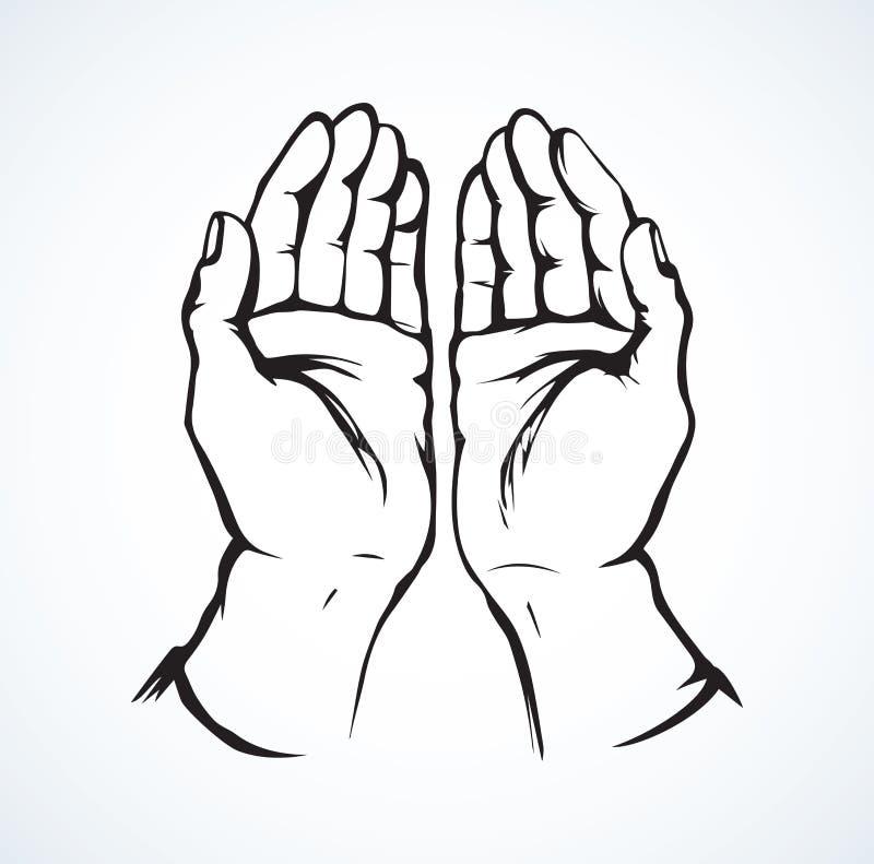 руки моля предпосылка рисуя флористический вектор травы иллюстрация вектора