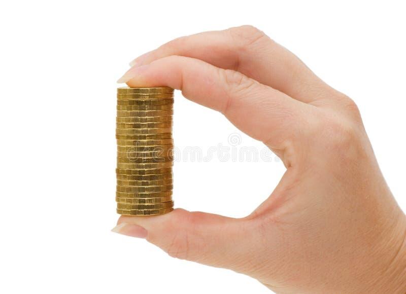 руки монеток изолировали белизну стоковые фотографии rf