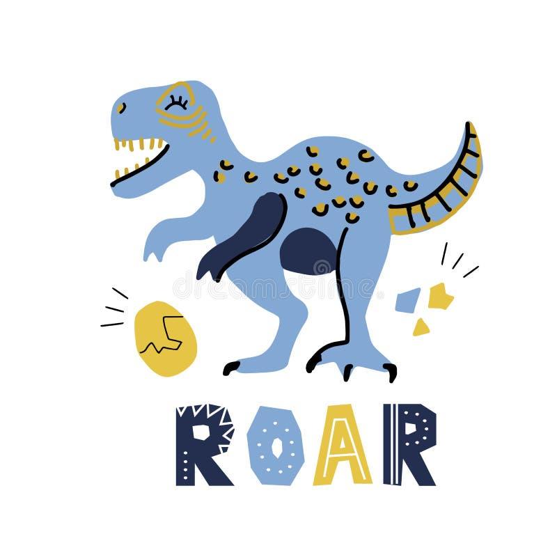 Руки мультфильма вектора динозавр милой вычерченный с помечать буквами рык qoute Тиранозавр с яйцом Иллюстрация вектора t- сканди бесплатная иллюстрация