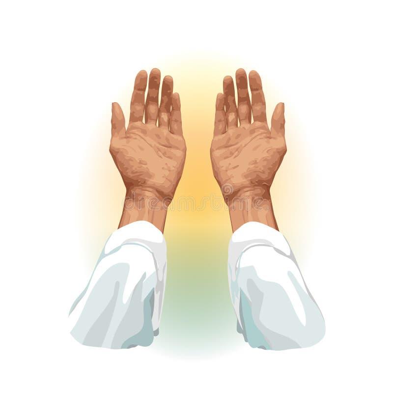 Руки мусульманина который молит, плоско на белой предпосылке Для хаджа, Umrah, Рамазан, Арафат, молитва r иллюстрация штока