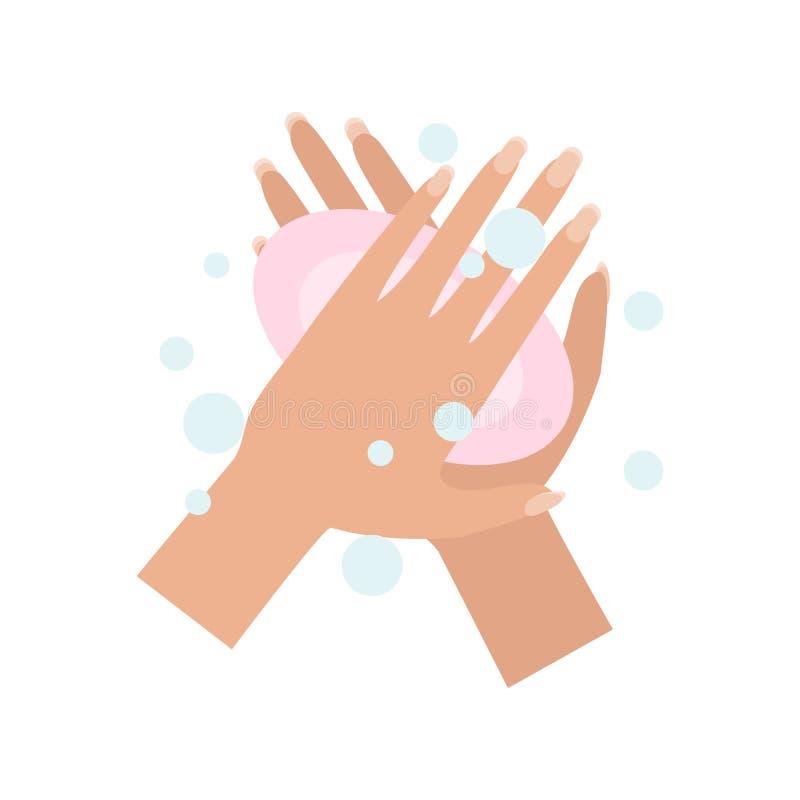 Руки мытья также вектор иллюстрации притяжки corel иллюстрация штока