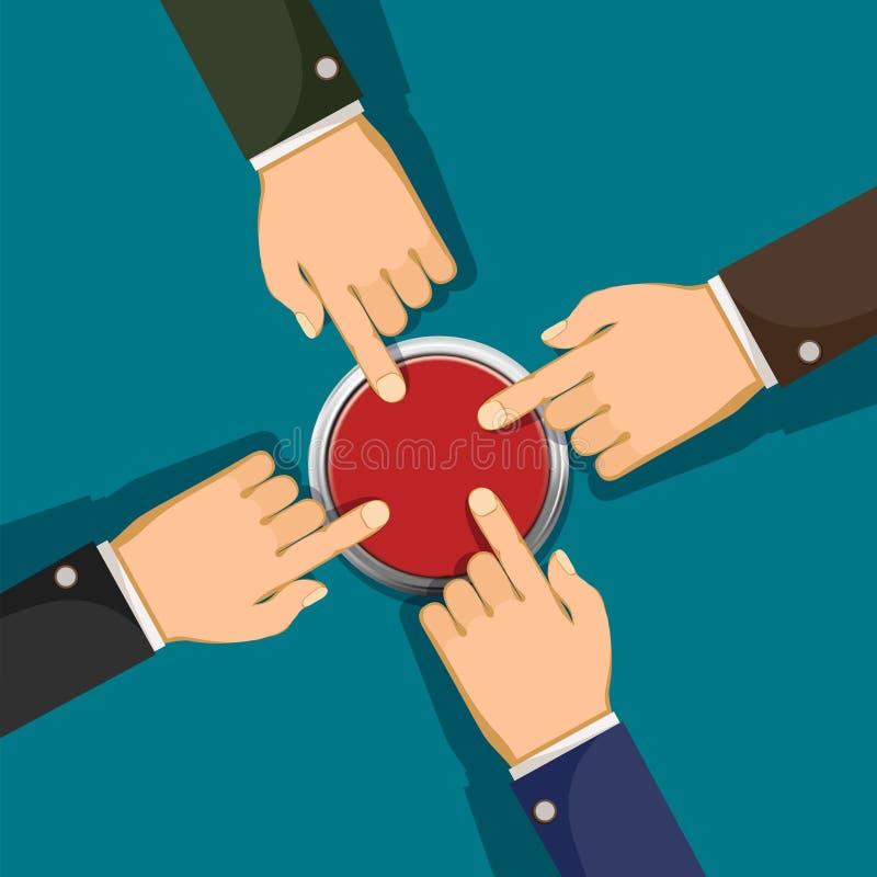 Руки нажимают кнопку иллюстрация вектора