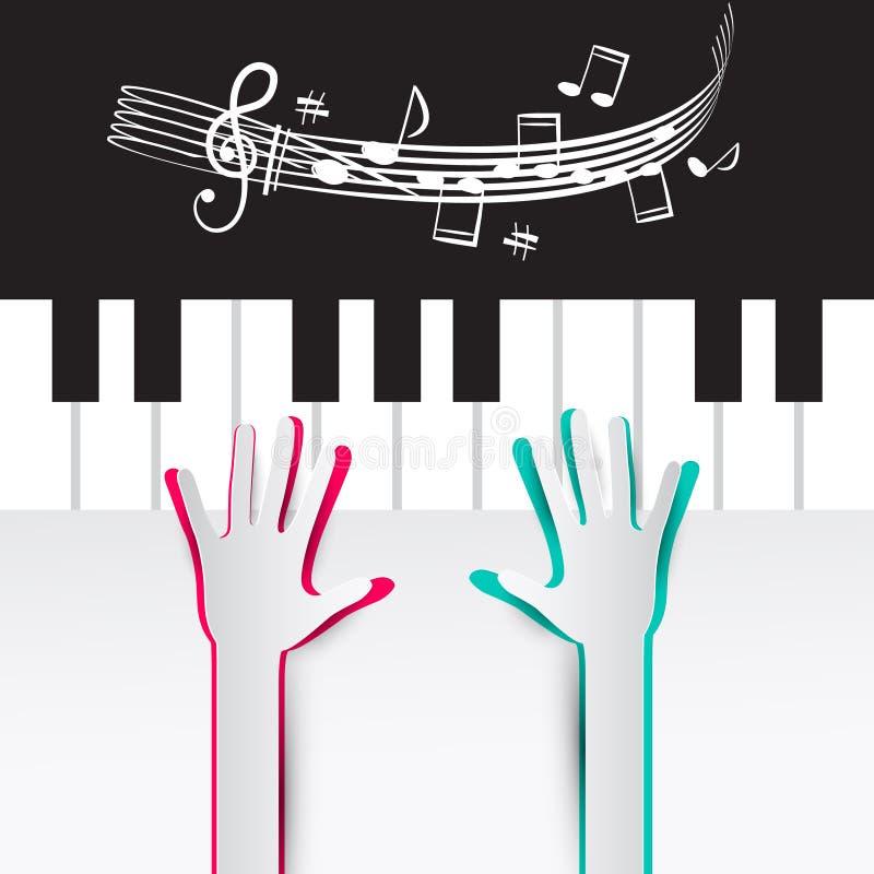 Руки на клавиатуре рояля с примечаниями и штатом иллюстрация штока