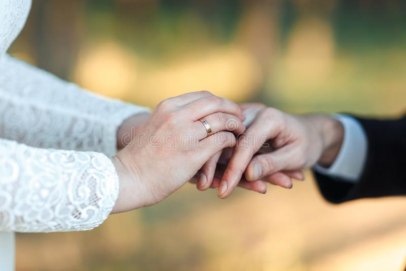 Руки новобрачных Рука ` s женщин кладет дальше кольцо венчание цветка церемонии невесты Невеста вручает конец-вверх стоковые изображения rf