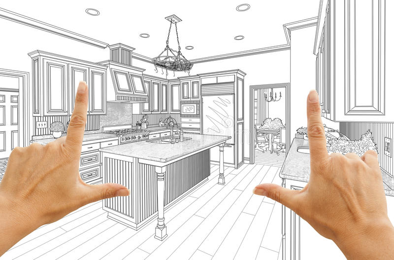 Руки обрамляя изготовленный на заказ чертеж дизайна кухни иллюстрация вектора