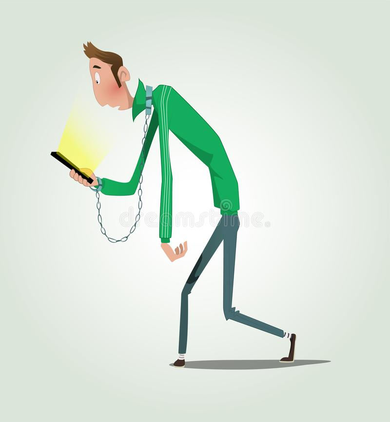Руки парня шаржа связанные к мобильному телефону иллюстрация штока