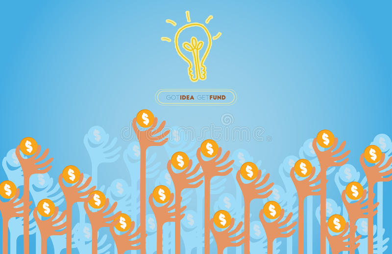 Руки повышения для концепции Crowdfunding иллюстрация штока