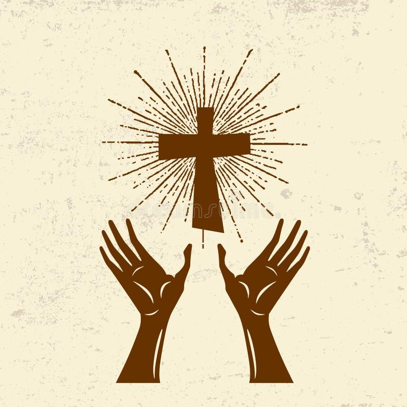 Руки подняли вверх, поклонение лорда Иисуса Христоса иллюстрация вектора